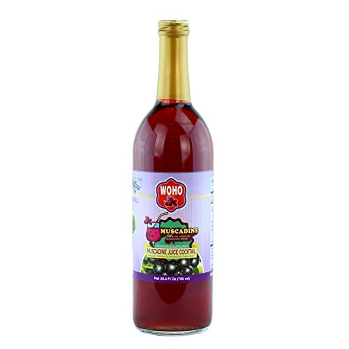 WOHO 100% pure Muscadine Cocktail Juice 25.4 oz (750ml), Powerful Antioxidants, Not From Concentrate