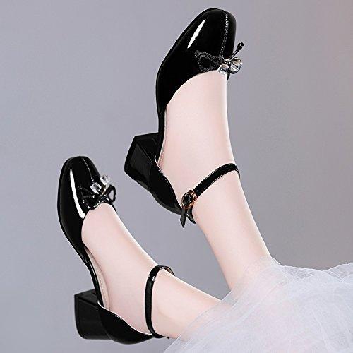 de altosSandalias mujer tacón Black zapatos Tacones HUAIHAIZ zapatos de verano de 1HaFx8O