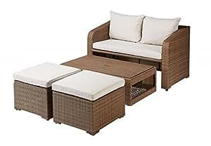 """'Conjunto """"tada compuesto de sofá taburete Mesa con acolchado–Marrón/Natural–Balcón Set Muebles Incluye acolchado Lounge sofá Lounge Jardín sofá sofá Muebles Muebles de Jardín"""