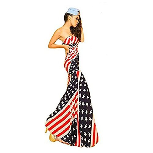 ] American Flag Long Maxi Dress Women's USA Star and Stripes Patterns