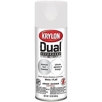 Krylon K08830001 Dual Superbond Paint + Primer, White, Flat, 12 ounce