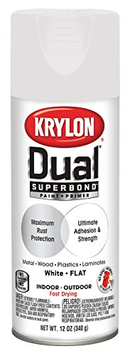 Krylon K08830007 Dual Superbond Paint + Primer, White, Flat, 12 -