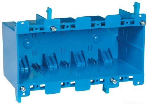 Carlon B468R Work Outlet Box, 4 Gang, 7.57-Inch Length by 2.89-Inch Width by 3.56-Inch Depth, Blue by Thomas & Betts