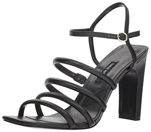 Nine West Women's LAXIAN Leather Heeled Sandal, Black, 8.5 M US