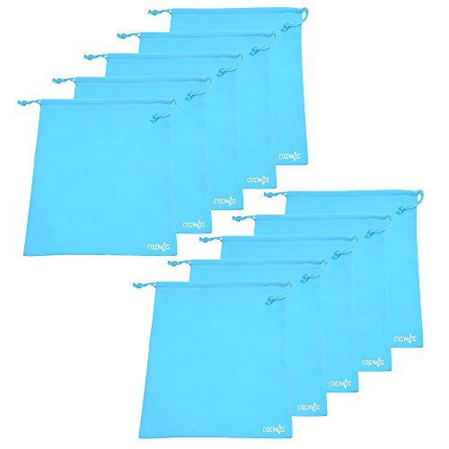 en's Non-Woven Drawstring Shoe Bags for Travel Carrying, 13-3/4 x 11 Inches (Light Blue) ()