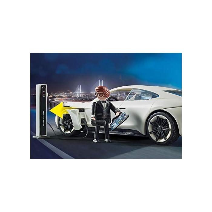 41MOJddb7EL Diversión para los pequeños aficionados a la gran pantalla; PLAYMOBIL: THE MOVIE Porsche Mission E y Rex Dasher con luz en los faros delanteros y traseros para jugar Coche deportivo con mando de control remoto, espacio para 2 figuras, techo descapotable, con estación de carga, a juego con PLAYMOBIL: THE MOVIE Marla (70072) Juego de figuras para niños a partir de 5 años: óptimo para el tamaño de sus manos y bordes redondeados agradables al tacto