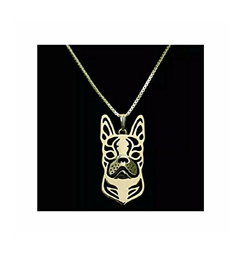 Boston Terrier Necklace Gold-Tone
