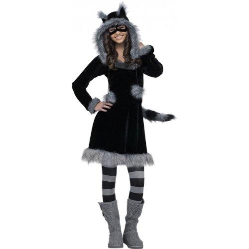 Fun World Sweet Raccoon Teen Costume, Black,Junior ()