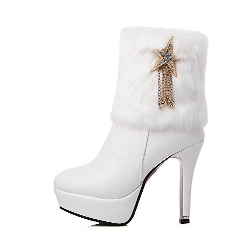 Soft WeiPoot Toe Heels Boots Closed White Solid Low Material Women's Round top High RH1HO5q