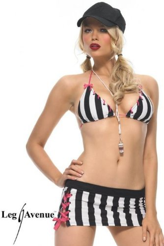 Leg Avenue Women's Head Referee Costume, Black/White, X-Small (Head Referee Costume)