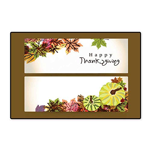 Bath Mat Concept of Happy Thanksgiving Header or Banner W39.37 xL62.99 ()