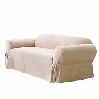Green Living Group Chezmoi Collection Soft Micro Suede Loveseat Cover Slipcover with Elastic Band Under Seat Cushion, Sand