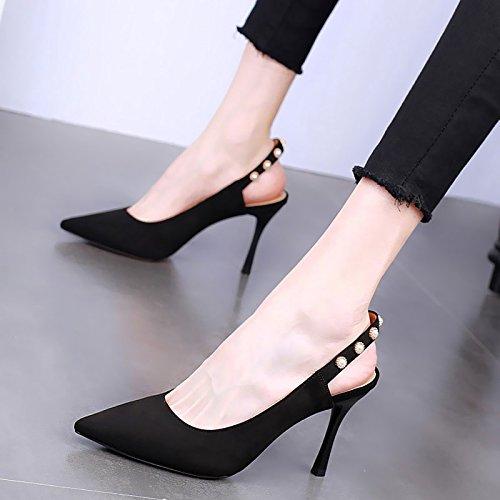 KPHY-Frühling Sagte 9Cm High Heels Dünn Flach Modische Modische Modische Damenschuhe Sexy Hohl Wild Einzelnen Schuh Weiblich b6a496