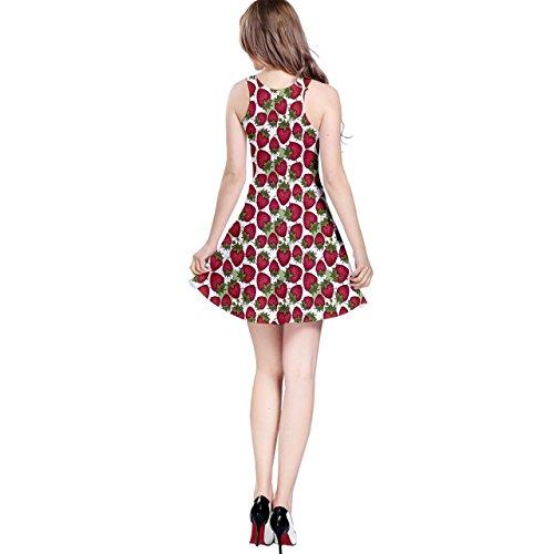 Cowcow Femmes Modèle Rouge Fraises Dessin Graphique Stylisé Robe Sans Manches