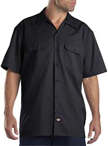 Dickies Men's Short-Sleeve Work Shirt (2 Pack - Medium, Black)