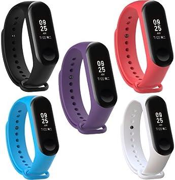WindTeco 5X Correa Xiaomi Mi Band 3 / Mi Band 4, Silicona Repuesto Pulsera Recambio Reloj Banda Extensibles Correa Reemplazo, Azul Oscuro, Blanco, Púrpura, Negro, Rojo (Sin Rastreador de Actividad): Amazon.es: Deportes