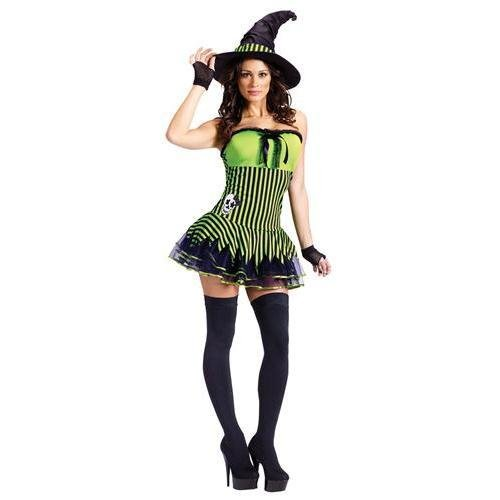 FunWorld Women's Rockin Witch Adult Costume, Green/Black, ()