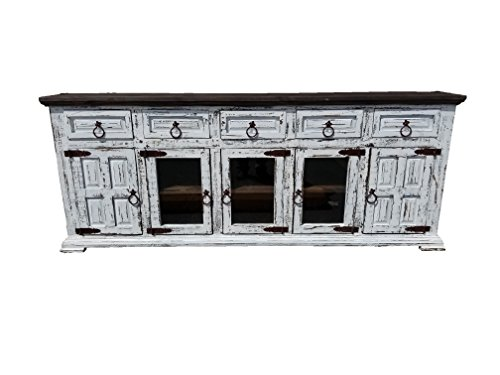 Hi End Rustic Medieval Hand Scrape TV Stand Buffet 80 Inch Long 80 inch, Wheathered White
