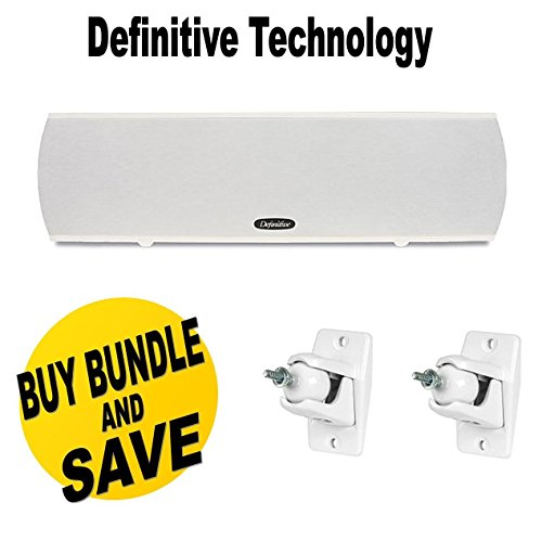 Definitive Technology ProCenter 1000 Compact Center Speaker (White) & Definitive Technology Pro-Mount 90 - Pair (White) by Definitive Technology
