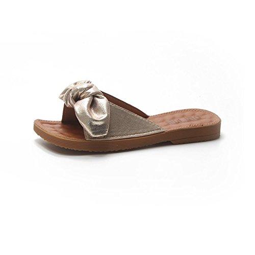 WHLShoes Sandalias y chanclas para mujer Bowslip Zapatillas Casual Femenino De Fondo Plano De Verano Perezosos Silvestres Con Un Cómodo Desgaste Exterior Golden
