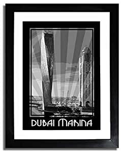 Dubai Marina- Black And White F07-m (a1) - Framed