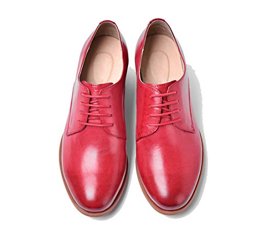 Con Rosa Mujer Estilo Clásicos Mgm Cordones Para Cómodos De Zapatos Piel Vintage b joymod T867U