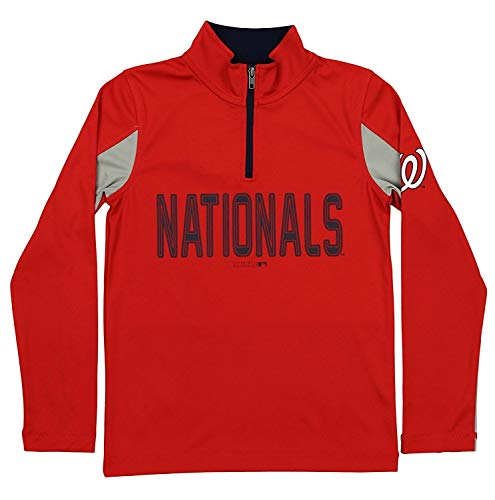 Outerstuff MLB Youth Boys 1/4 Zip Performance Long Sleeve Top, Washington Nationals, Medium