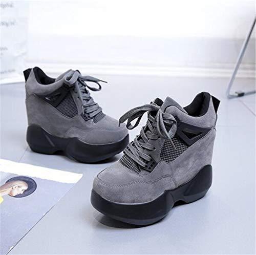 Gris Mayor de Zapatos Gruesos Mujeres Plataforma de de Altura Zapatos Alto Transpirable Zapatos Moda tacón Pq6WSan