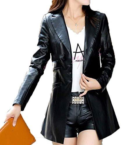 Long Gazy Classy Kimono Type Single Breasted Leather Jacket Women Trench Coat Overcoat Peacoat ()