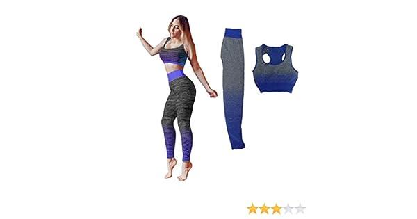 S.L Running Ropa para Yoga Talla Unica Lemon Tree Gimnasio Conjunto de Ropa de Entrenamiento Deportiva para Mujer Color Azul. Parte Superior Chaleco y Mallas Ajustadas fit S-L