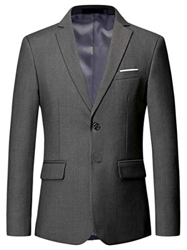 Lutratocro Mens Classic Fit Single Breasted Notched Lapel Blazer Jacket Coat Grey M