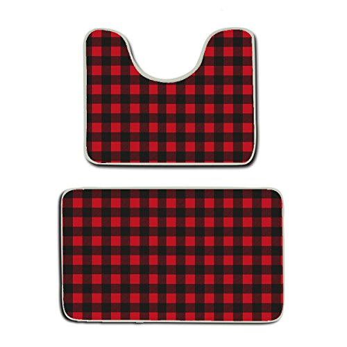 AMERICAN TANG Custom Rustic Red Black Buffalo Check Plaid Pattern 2-Piece Soft Bath Rug Set Includes Bathroom Mat Contour Rug Home Decorative Doormat