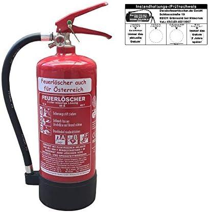 NEU 3 l Fettbrand Schaum Feuerlöscher auch für Österreich DIN EN3 GS + Wandhalter + Manometer + Standfuß 13 A, 89 B, 40F = 4LE (Mit Prüfnachweis u. Jahresmarke)