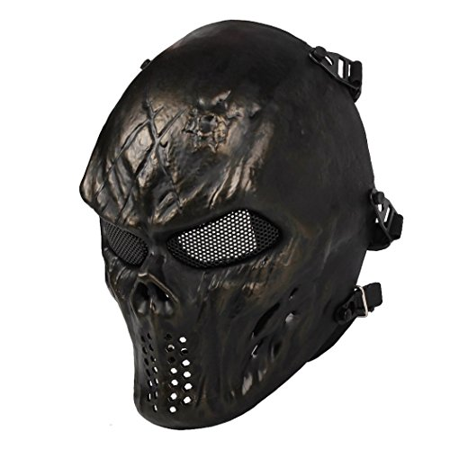 Airsoft Mask Full Face Masks Skull Skeleton with Metal Mesh Eye Protection Army Fans Supplies M06 Tactical Mask for Halloween BB Paintball Gun Patriots CS Game Cosplay and Masquerade Party (Bronze)