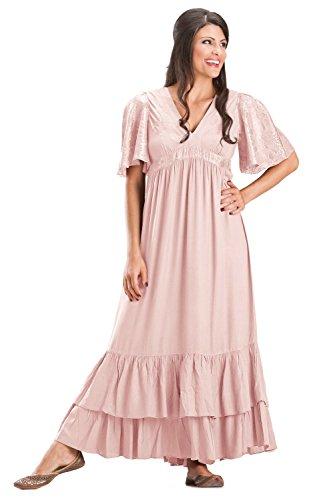 [HolyClothing Fleur Empire Waist Flutter Sleeve V-Neck Ruffled Dress - 2X-Large - Pink Rose] (Pink Renaissance Dress)