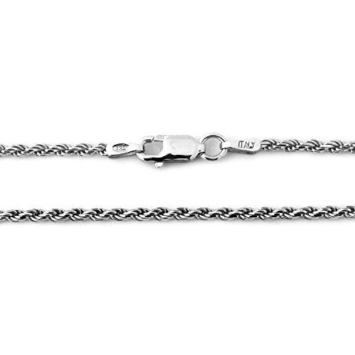 Solid Sterling Silver Rhodium Plated 2.3mm Rope Chain Necklace, ()