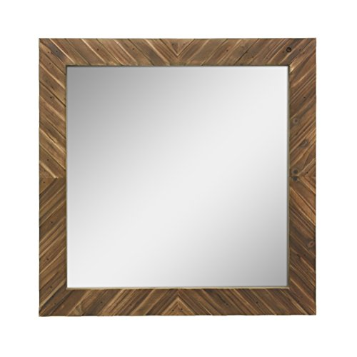 Stonebriar Square Textured Wooden Chevron Hanging Wall Mirror with Attached Mounting Brackets, -