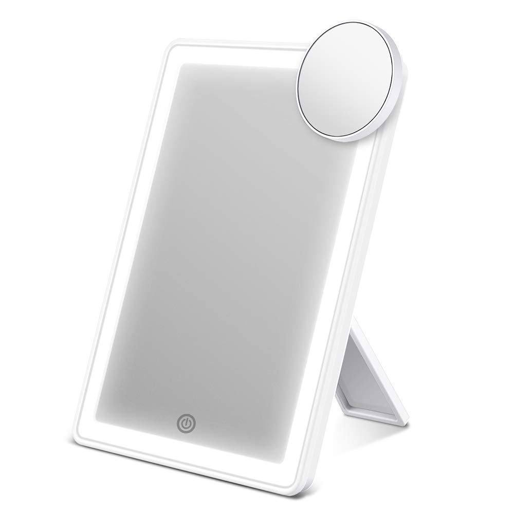 AEVO Makeup Mirror with Lights, Lighted Vanity Mirror with 72-LED Halo Lighting, Detachable 10× Magnification Mirror…