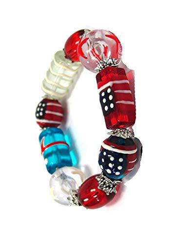 (Linpeng Beaded Bracelets For Women Teen Girls - Americana Flag Bead Patriotic Bracelet - Glass Beaded Bracelet Gift - USA Patriotic Colors - Bracelet Length Approx.7.5