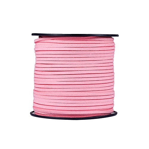 (Fashewelry 98 Yards Micro Fibre Faux Suede Flat Cord 3x1.4mm Leather Lace Velvet Beading String Rope with Roll Spool for DIY Jewelry Craft Making (Pink))