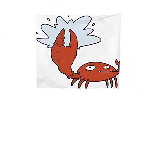 Sunset glow Bedroom Tapestry Cartoon.jpg Crab.jpg with.jpg Big.jpg Claw.jpg Tapestry Throwing Blanket 39W x 39L Inch
