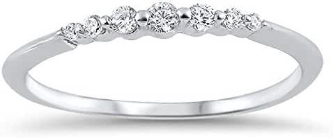 Clear Round Cubic Zirconia Graduating Band Ring Sterling Silver