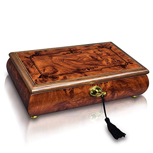 Ikee Design Wooden Locking Musical Jewelry Box with Glossy Finish by Ikee Design