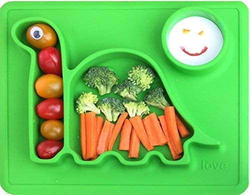 Silicone Placemat Toddler Plates - The Happy Good Dino Pad - from Freezer to Microwave to Table. Fits in a Ziplock Bag. (Green) ()