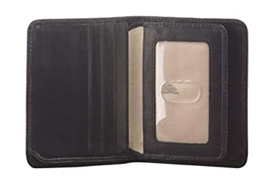 Mens Leather Bifold Passcase Flap Wallet with ID Window Vertical Front Pocket Multi Card Holder Slots Minimalist Design made with Real Italian Cowhide Leather by Tony Perotti
