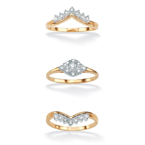 White Diamond 18k Gold over .925 Silver 3 Piece Bridal Ring Set (.22 cttw, HI Color, I1 I2 Clarity)