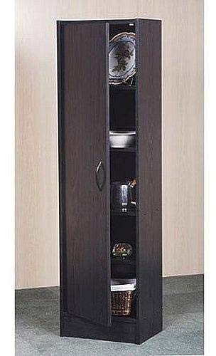 Single Closet - Mylex Pantry Single Door Storage Cabinet Cupboard Utility Closet Kitchen Furniture (Black)