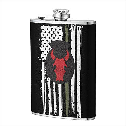 (US Army Retro 34th Red Bull Infantry Division Hip Flask for Liquor Flask Wine Flagon Mug Funny Novelty 8oz)