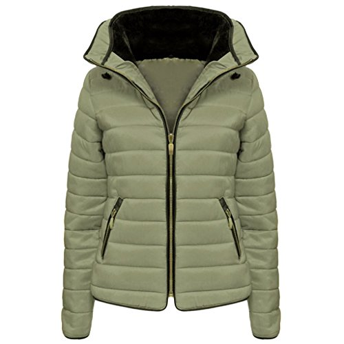 Vanilla Inc New Ladies Womens Zipped Quilted Jacket Puffer Bubble Fur Collar Winter Jacket Coat Top UK 6-14 Stone