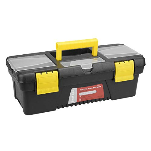 uxcell 12-inch Tool Box, Plastic Tool Box with Tray and Organizers Includes Removable Three Small Parts Boxes
